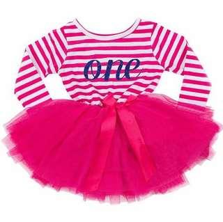 Instock - 1st hot pink birthday dress, baby infant toddler girl children cute glad 123456789 lalalalala