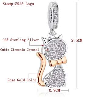 P2mart ✌✔Pre order stock ✔100% Real 925 Sterling Silver Lovely Cat Charm Beads Fit