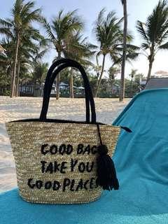 沙灘渡假刺繡草編藤袋