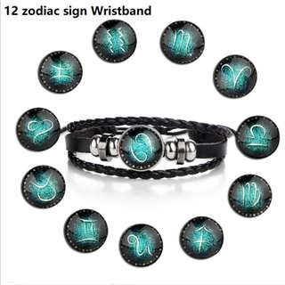 Unisex 12 zodiac sign leather wristband (ideal birthday gifts)
