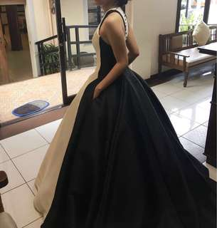 Black and White Prom Gown with Pockets FOR RENT