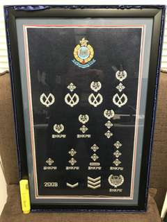 Hong Kong Police Force rank insignia display frame decoration 香港警察 布織 官階 徽章 警徽 連框架