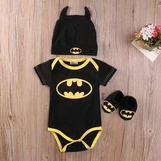 Instock - 3pc batman set, baby infant toddler girl boy children cute glad 123456789 lalalala