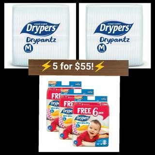 Drypers tape L 62+6 pcs & Drypantz M 60 pcs