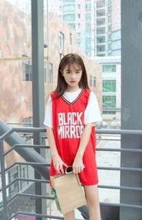 •INSTOCK• RED JERSEY LIKE SPORTY OVERALL DRESS