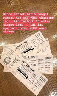 Ticket One Republic on 25 April 2018