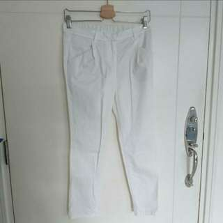 Earth Music & Ecology 日系休閒風白色九分褲 Cotton Stretch Off-white Cropped Pants
