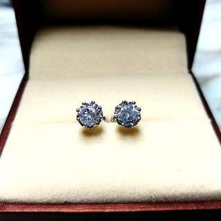 日本六爪水晶純銀防敏感耳環 Brand New Japan Six Claw Crystal Sensitive Silver Earrings