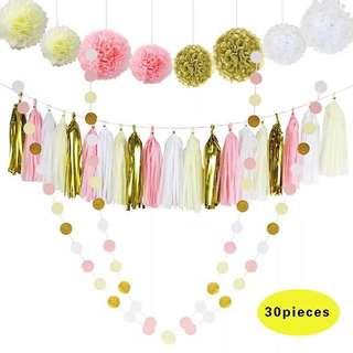 30pc Paper Tassels Pom Pom Garland Birthday / Party Decoration Set - Pink / Gold / Cream / White