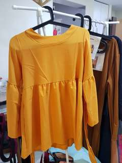 BN Brand new Babydoll long sleeve top blouse Bell flare sleeves yellow mustard Freesize lycra