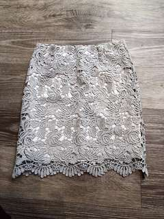購於AJPEACE 優雅氣質灰色蕾絲窄裙