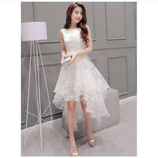 White Lace Midi Dress Off-shoulder dresses puffy dress