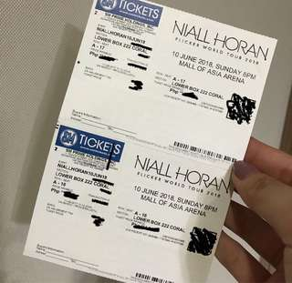 2 Lower Box Tickets to Niall Horan Live in Manila