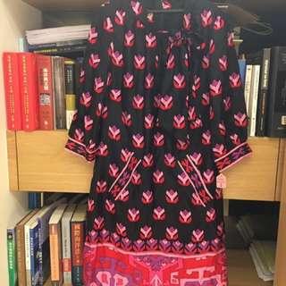 🚚 美國精品 Anna Sui 風格 phoebe couture 正品全絲質黑底蝴蝶結粉紅印花洋裝