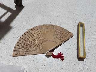 vintage wooden folding fan