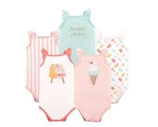 *9M* BN Hudson Baby 5-Pack Sleeveless Bodysuits For Baby Girl