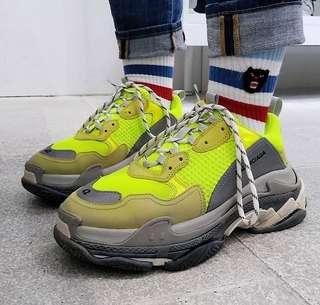 [BN] Balenciaga Triple S Neon Yellow Sneakers