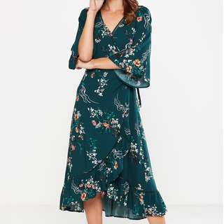 🐥Cotton On Emerald Green Floral Midi Wrap Dress (XS and S available) RRP 2000