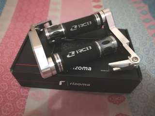 Original RACING BOY Handle Grips and RIZOMA lever guard..