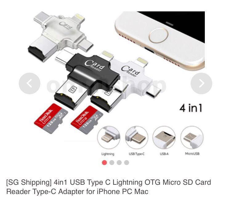 4 in 1 Micro SD card reader - iPhone / Android