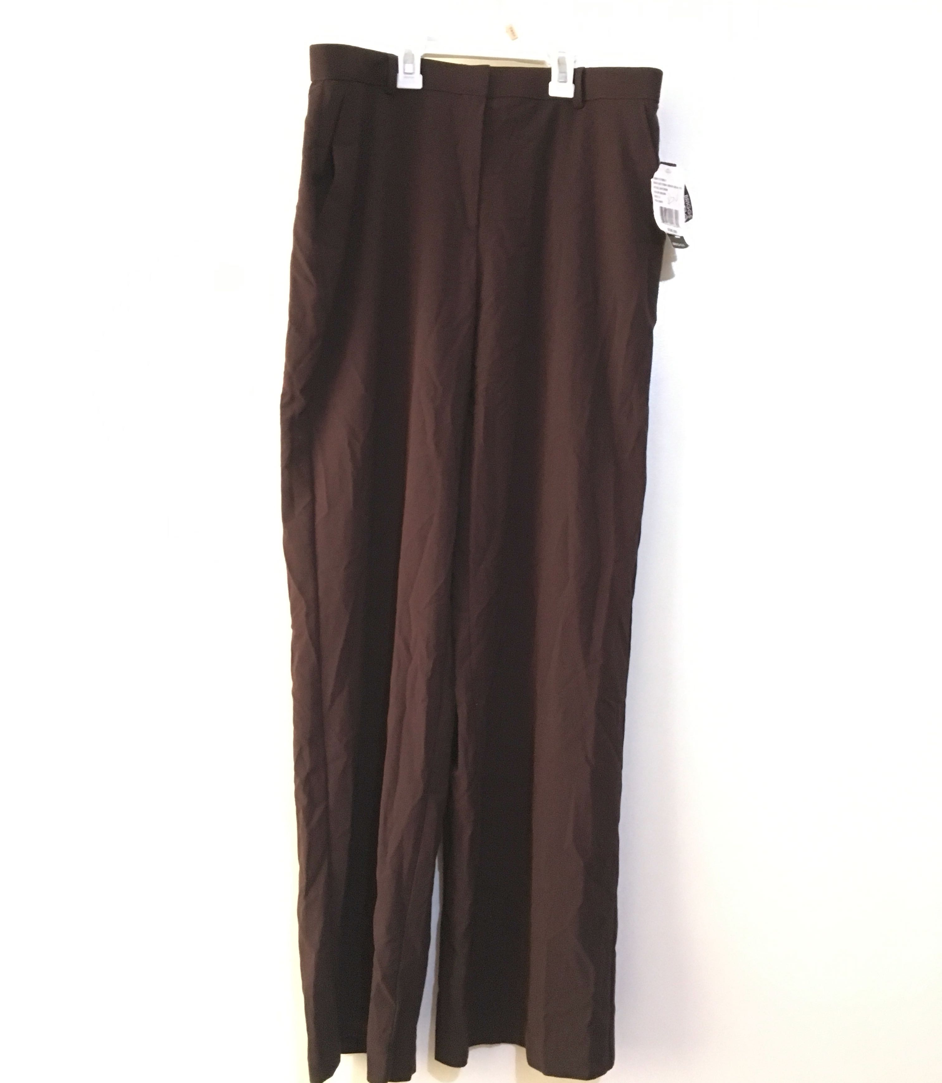 Charity Sale! Authentic Briggs New York Brown Dress Woman's Stretchy Work Office Pants Slacks Size 12