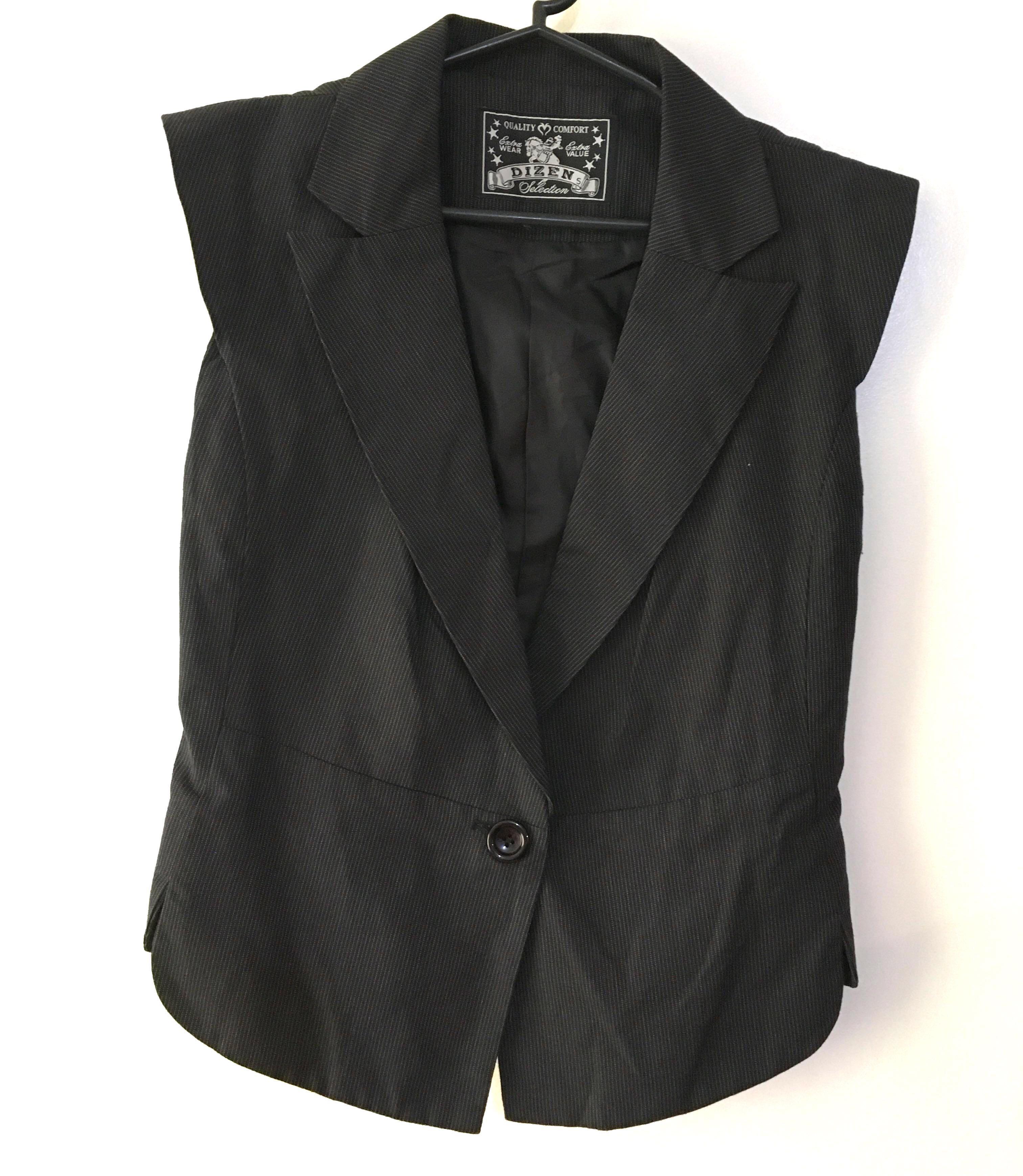 Charity Sale! Authentic Dizen Sleeveless Women's Blazer Pin Striped Chic Office Work Blazer