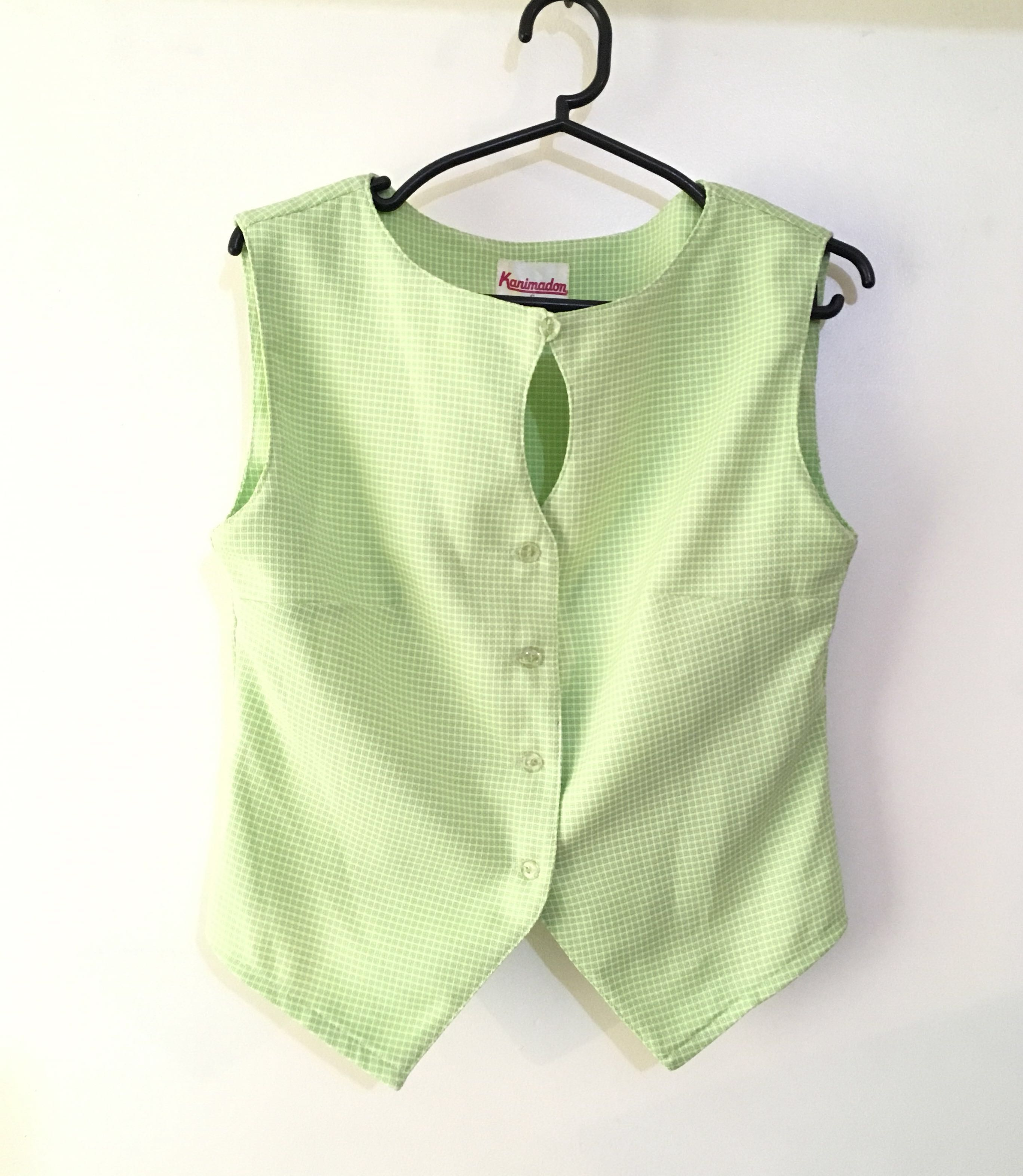Charity Sale! Authentic Karimadon Checkered Baby Green Keyhole Neck Button Up Women's Sleveless Top can be Vest Size Small