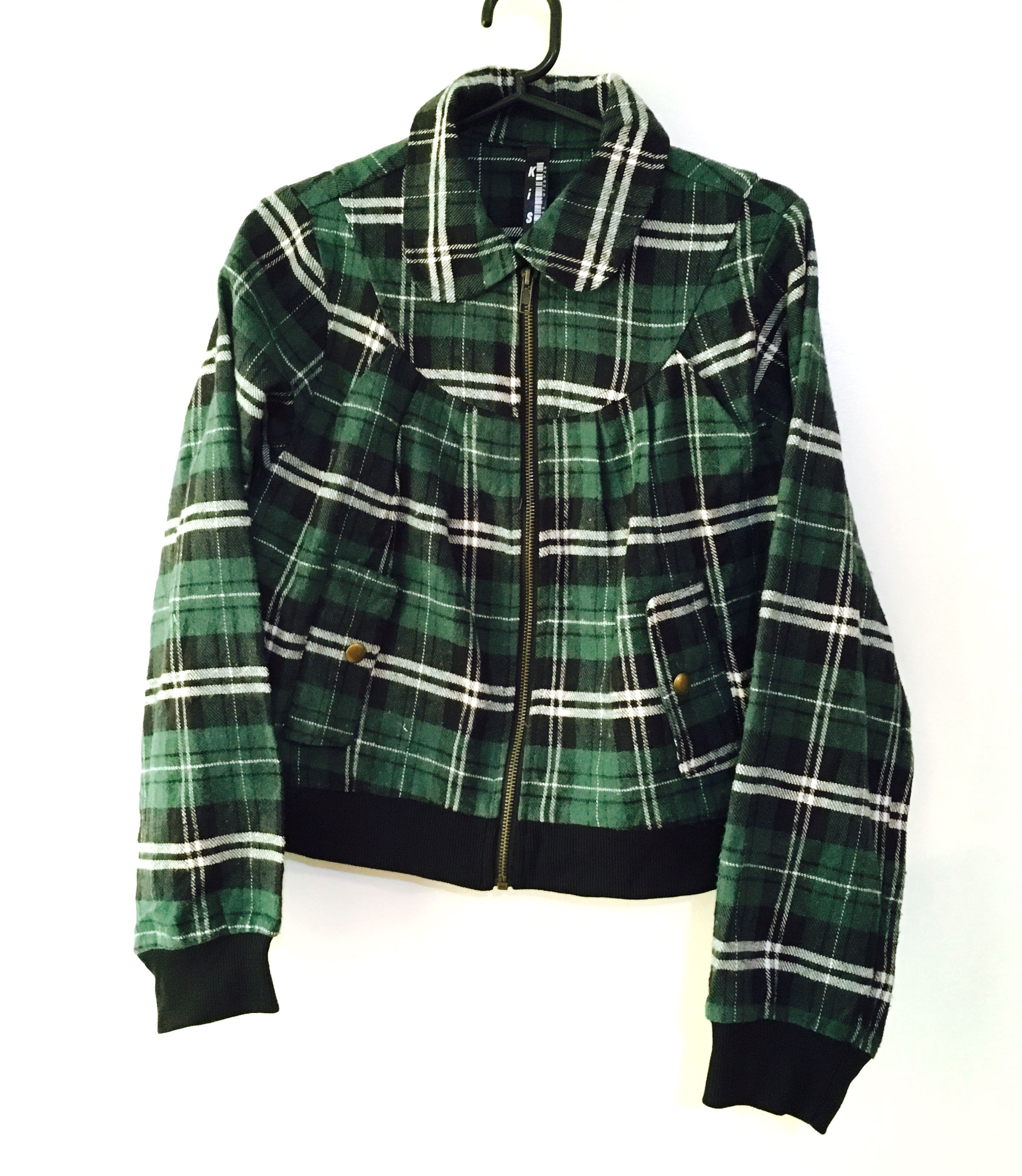 Charity Sale! Authentic Kiss Plaid Women's Bomber Jacket Size Small Women