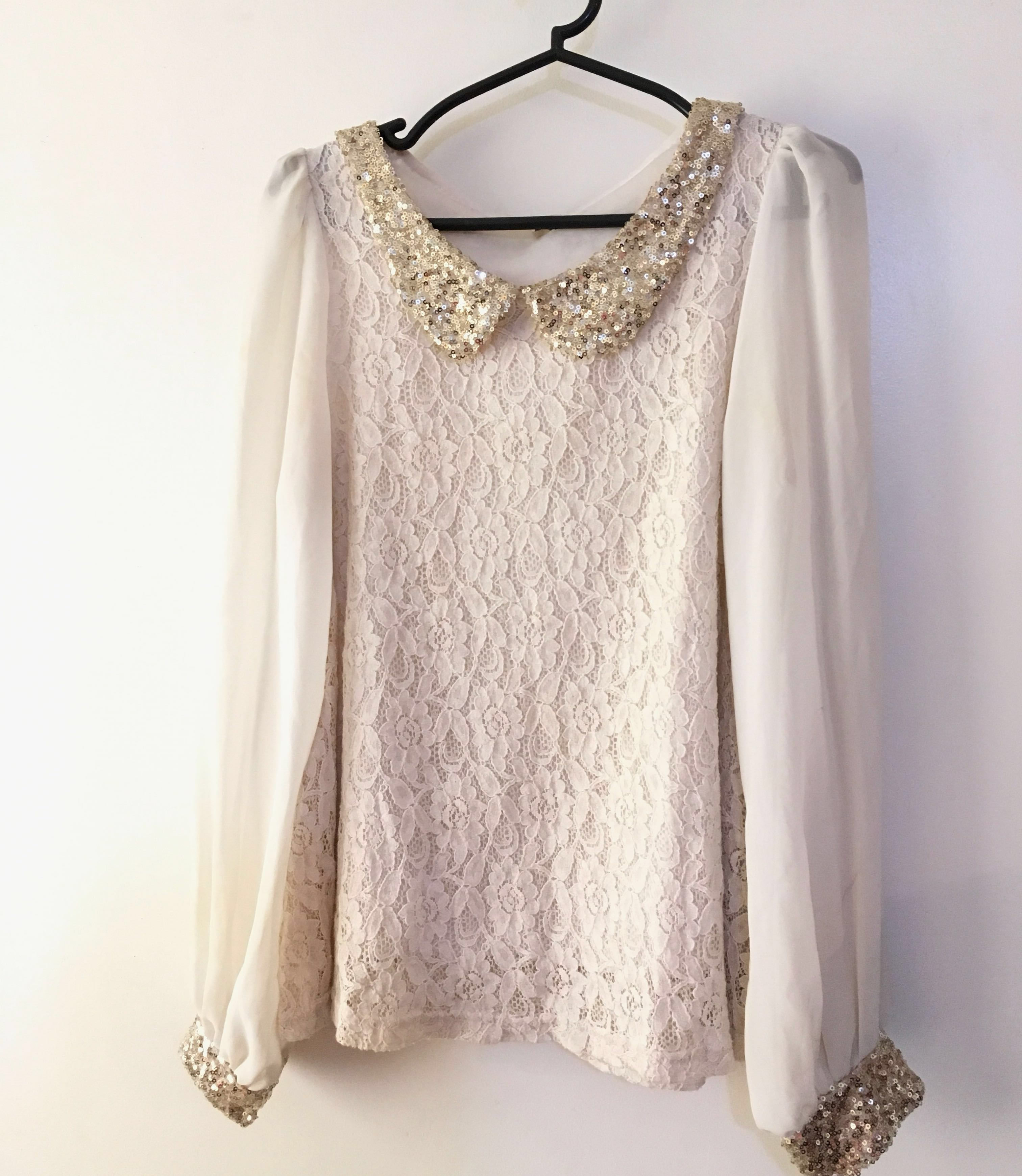 Charity Sale! Vintage Lace Victorian Style Gold Sequenced Blouse Women's Size Medium Top