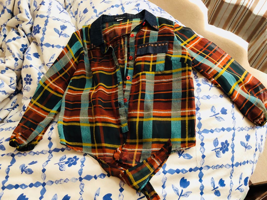 Chiffon plaid tie shirt