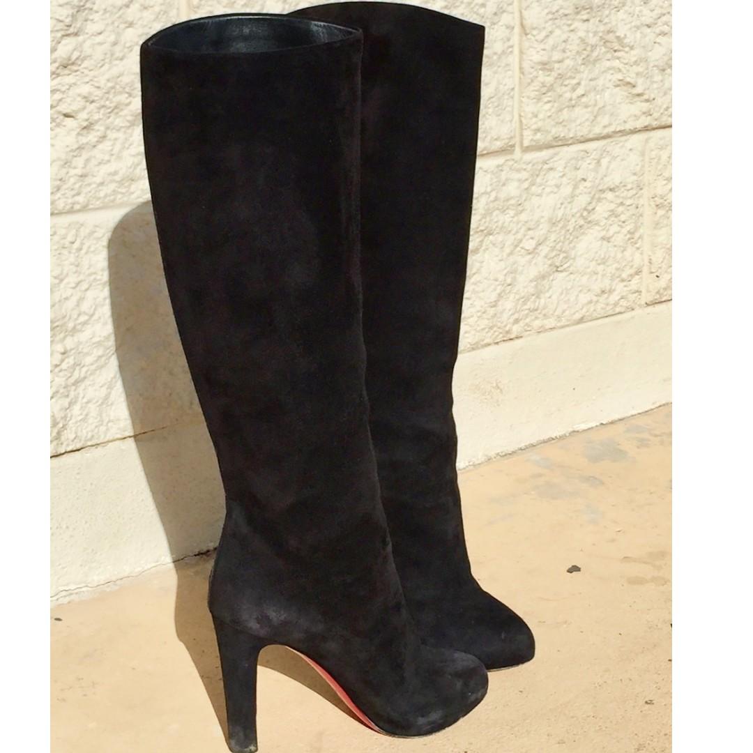 74693062fec Christian Louboutin Dorififa 85 Black Tall Suede Boots - Size 37 ...
