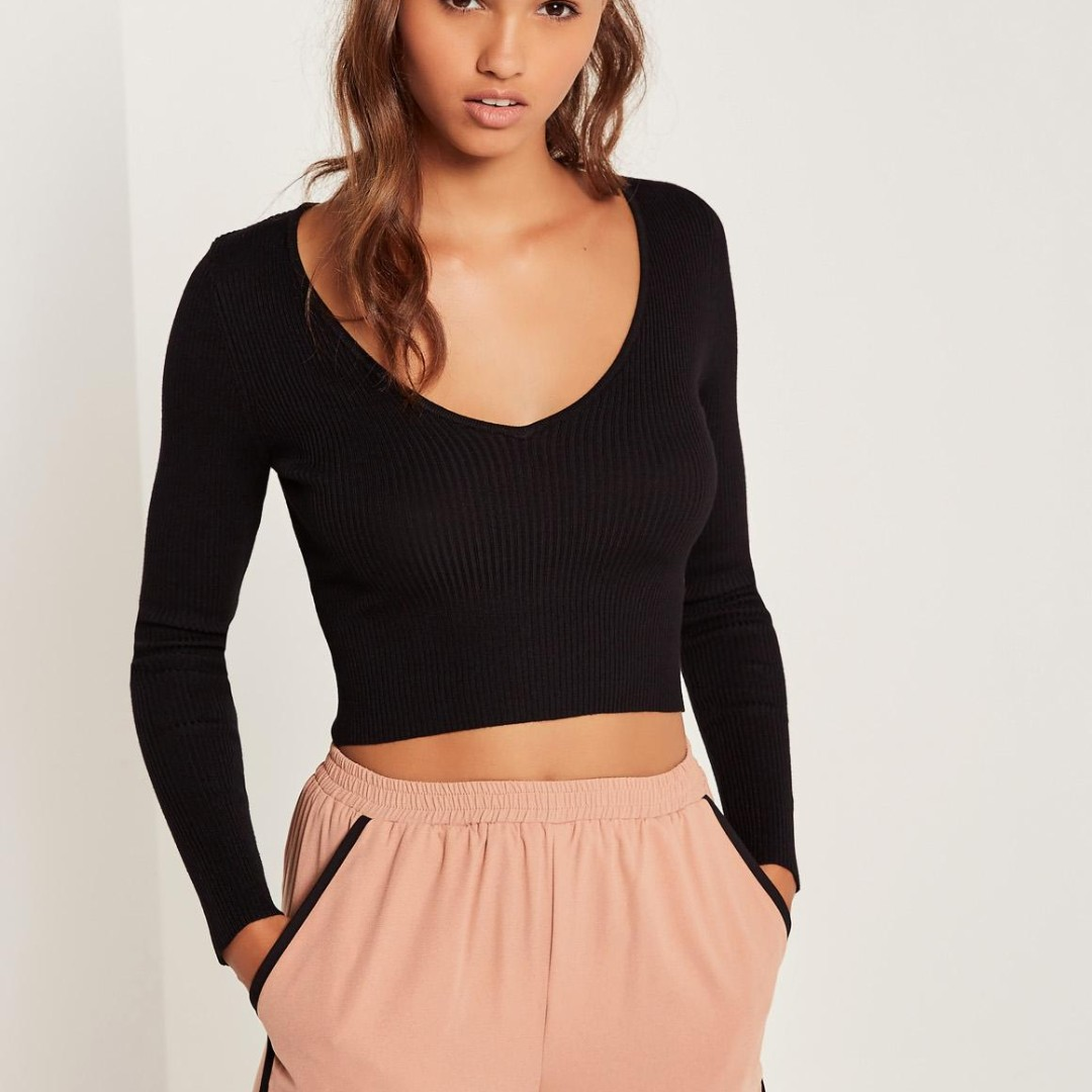 Cotton On Black Cropped Top