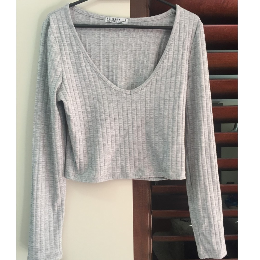 Cotton On Grey Cropped Top.