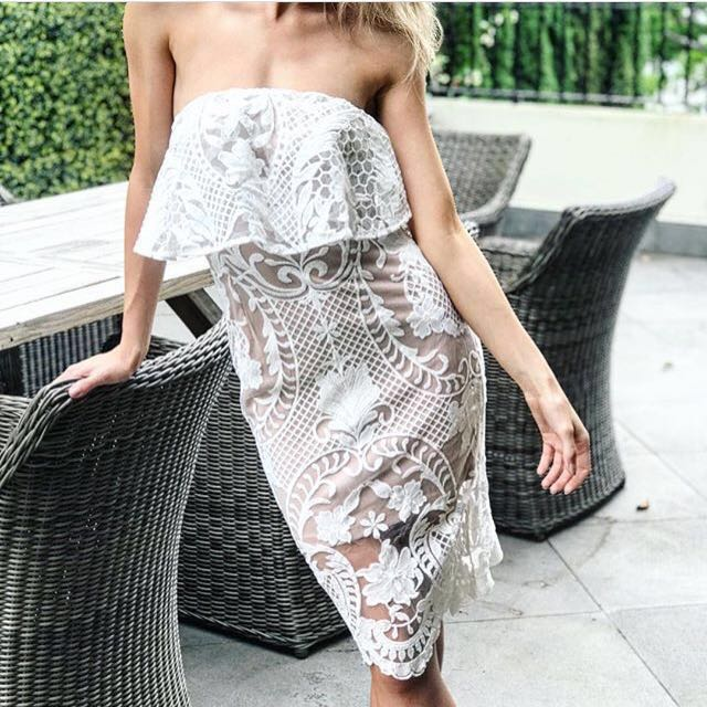 🌷Formal Lace Midi Strapless Dress