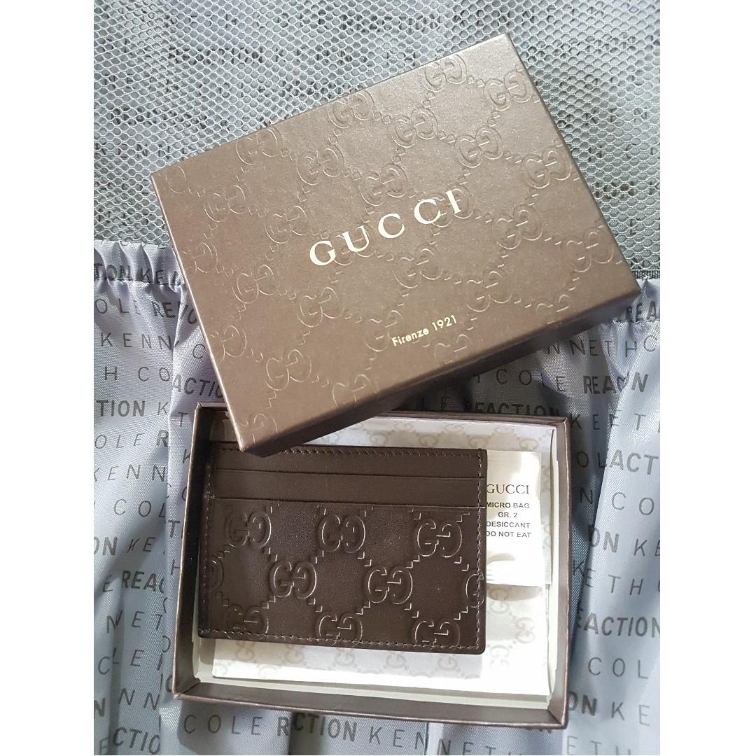 c86e055388 ✔️ GUCCI Brown Leather Micro GG Guccisima Small Card Case - 4