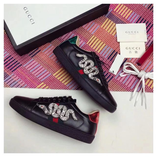 Gucci snake embroidered sneakers