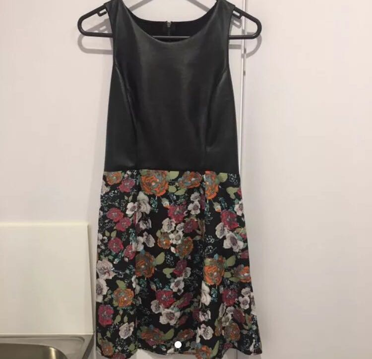 Leather/Floral Combo Dress - Size 8