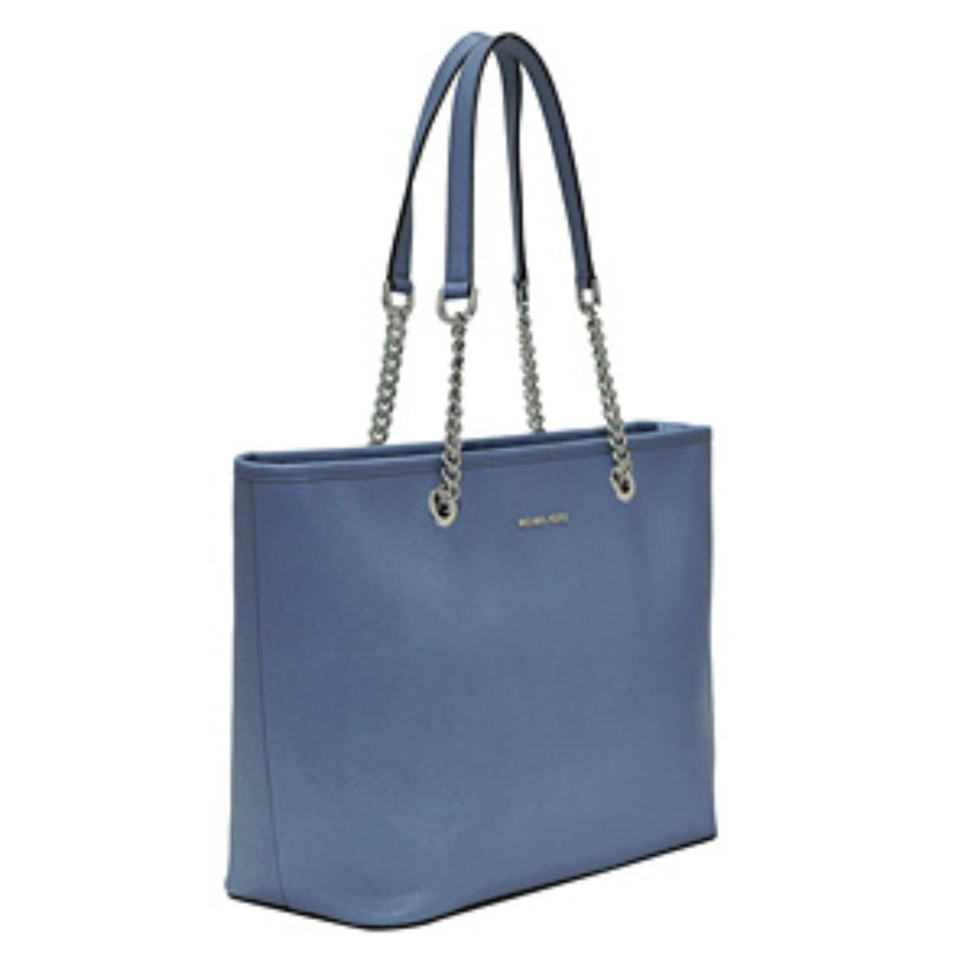b564e7f0f02e44 Michael Kors : Denim Saffiano Jet Set Travel Chain Tote, Luxury ...