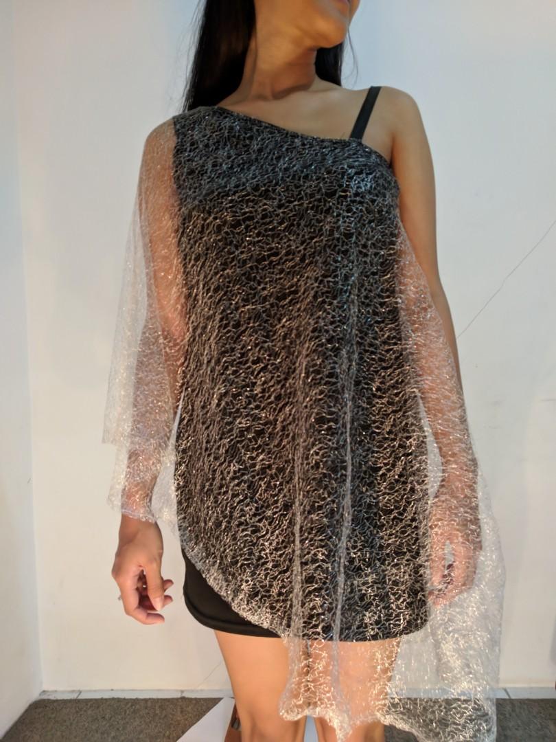 Mini dress hitam silver