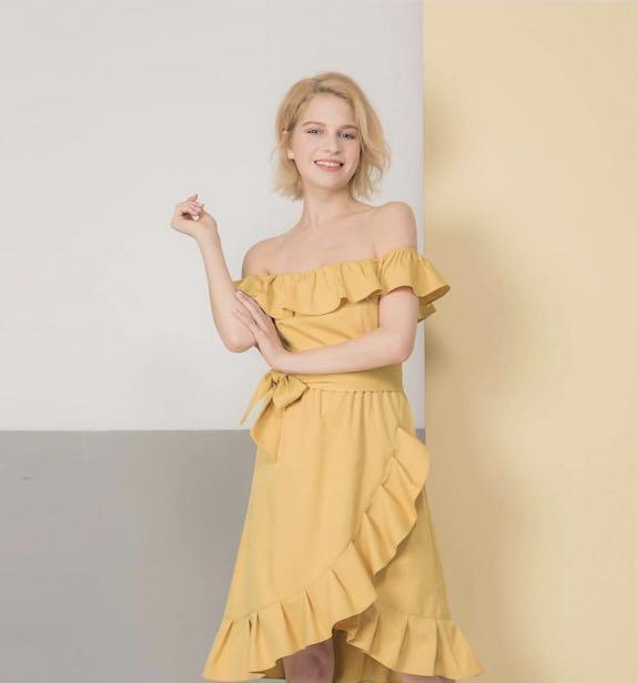 1f571dca62c0 Off shoulder mustard yellow ruffle dress