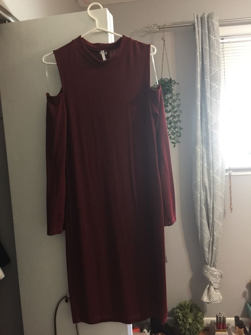 Off the shoulder long sleeve red dress