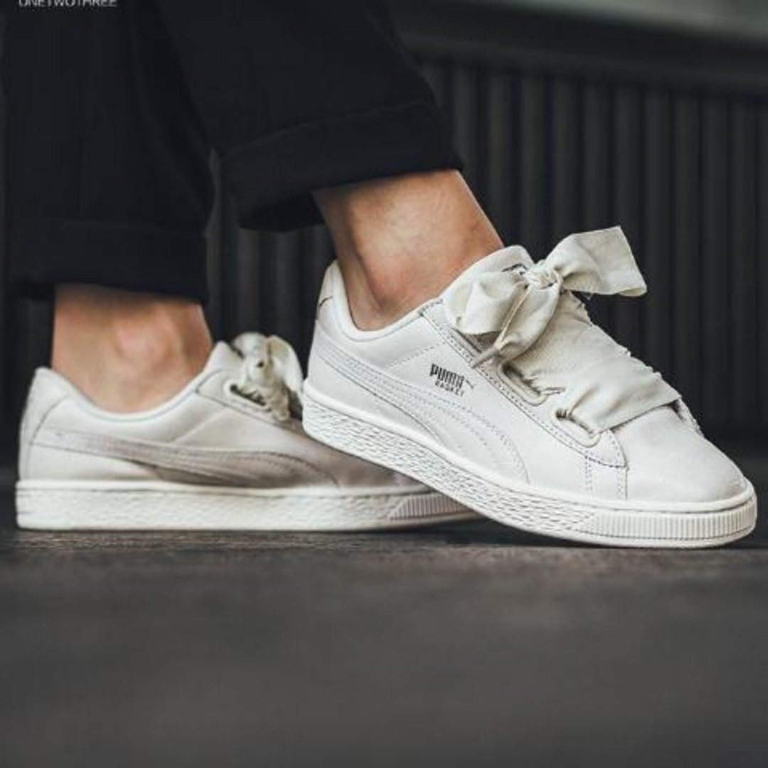 Puma Basket Heart NS Wns Bows White Ivory Leather 2437c8966