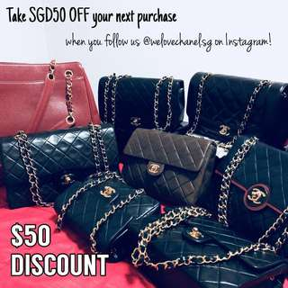TAKE SGD50 OFF YOUR NEXT PURCHASE WITH US AT WELOVECHANEL.SG🤩