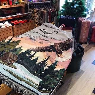 💙🦖 美式休閒線布 萬用毯野餐巾沙發巾裝飾掛畫