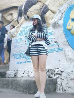 Terno Stripes Cardigan and Shorts (Ivory and Navy)