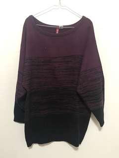 H&M HM Sweater Purple Black Knit