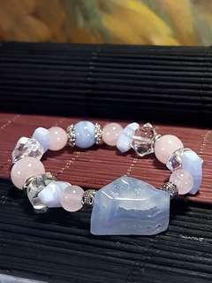 Blue Chalcedony, Blue Lace Agate, Rose Quartz and Clear Quartz bracelet [Natural Crystal]