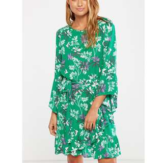 Cotton On Green Chiffon Flare Long Sleeves Dress