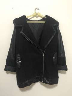Black Jacket with Faux Leather Detail Jaket Musim Dingin