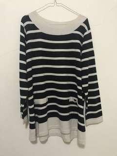Stripe Knit Top Longsleeve Baju Lengan Panjang Garis